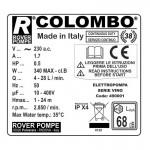 Αντλια Μεταγγισης με Φιλτρο Κρασιου Rover Pompe Colombo 12 0.5hp 2850rpm