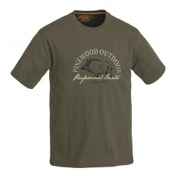 Pinewood Wild Boar 5422 - T-Shirt Μπλουζες με Σταμπες Κυνηγιου Πρασινες Χακι